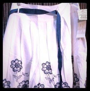 White skirt w/blue flower pattern